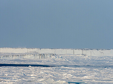 Fast ice with open leads off the east coast of Greenland, Polar Regions