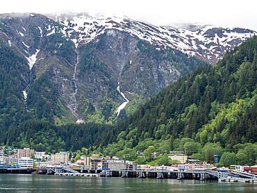 Downtown Juneau in Covid times - no cruise ships, Southeast Alaska, USA.