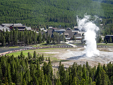 The cone geyser called Old Faithful erupting in Yellowstone National Park, Wyoming, USA.