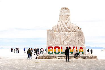Welcoming statue on display on the salt flats, Salar de Uyuni, Daniel Campos Province, Bolivia.