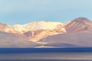 Sunset over an endorheic salt lake in the altiplano, Eduardo Avaroa Andean Fauna National Reserve, Bolivia.