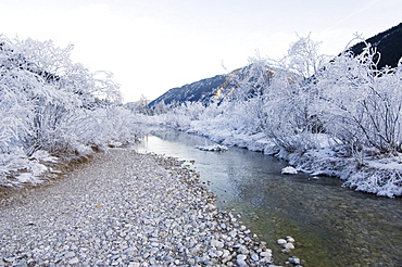 Stream Rissbach in winter, Hinterriss, Tyrol, Austria