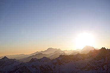 Panorama of the Pennine Alps in sunset, Matterhorn, Valais, Switzerland