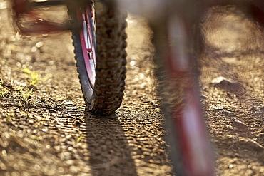 Downhill mountain bike off-roading, Morzine, Haute-Savoie, France