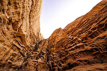 Steep rock face, Wadi Rum, Jordan, Middle East