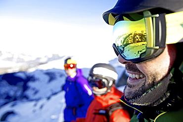 Three freeskiers, Chandolin, Canton of Valais, Switzerland