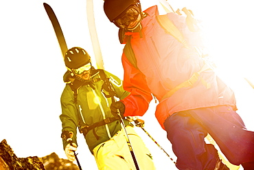 Two freeskiers ascending, Chandolin, Canton of Valais, Switzerland