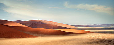 Panoramic view from Dune 45 at landscape around Sossusvlei, light and shadow, Namib Naukluft National Park, Namibia, Namib desert, Africa