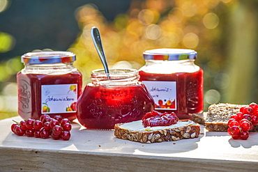 Jars of homemade jam, Hamburg, Germany