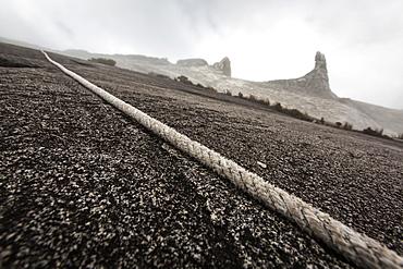 Rope to Low's Peak 4091 m for the Mountain tourists, Mount Kinabalu, Borneo, Malaysia