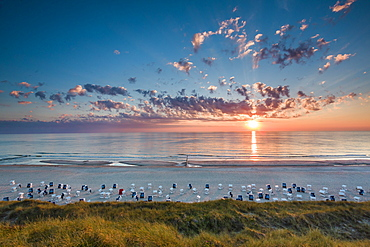Sunset over the sea, Wenningstedt, Sylt Island, North Frisian Islands, Schleswig-Holstein, Germany
