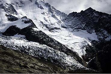 Glacier in mountain landscape, Mont Blanc Mountain Massif, Graian Alps, France