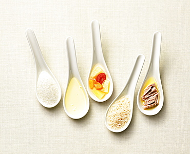 Spoons with salt, oil, fruit, rice, tuna, Food, Nutrition