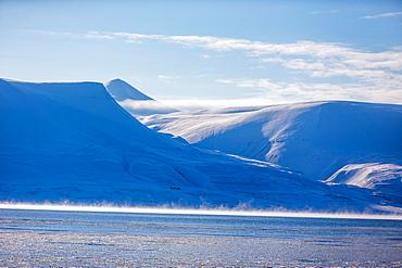 Snowy landscape in Spitzbergen, Spitzbergen, Svalbard, Norway