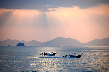 Evening view over Ao Nang Beach, Krabi, Andaman Sea, Thailand, Asia