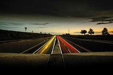 A99 Motorway in the evening, Munich, Aubing, Bavaria, Germany