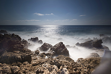 Rocky coast on the Mediterranean Sea in Font de Sa Cala in Mallorca, Mallorca, Balearic Islands, Spain