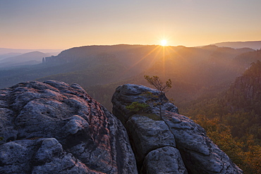 Sunrise over the Saxon Switzerland National Park, with view to the Mittelwinkel in the Schrammstein rock formation in late summer, Saxony, Germany - 1113-104784