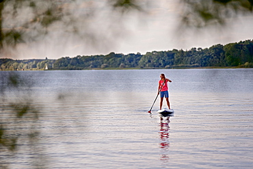 Woman stand up paddling on lake Chiemsee, Chiemgau, Bavaria, Germany