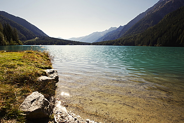 View over lake Lago di Anterselva, South Tyrol, Italy