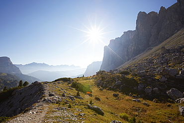 View from Gardena Pass to the East at sunrise, Val Gardena, the Dolomites, South Tyrol, Italy