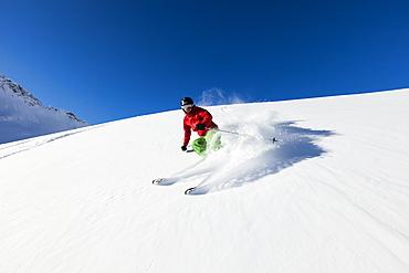 skier in deep powder snow, Zugspitze, Upper Bavaria, Germany