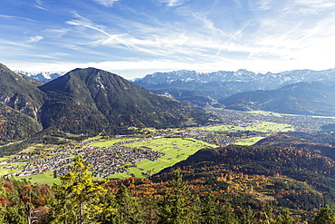 view from Schafskopf to the Alps, Farchant, Garmisch-Partenkirchen, Bavaria, Germany