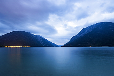 Lake Achensee and Pertisau at dusk, Karwendel, Tirol, Austria