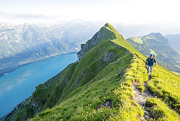 Hike with bivouac on Hardergrat, Lake Brienz, Berner Oberland, Switzerland