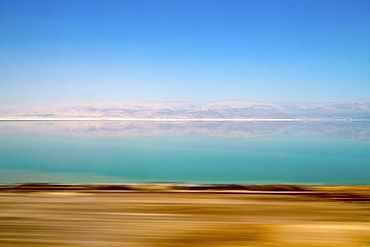 Dead Sea shot from a moving car, Masada, Dead Sea, Israel