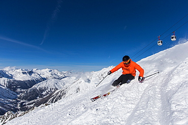 Skiers departure to Grands Montets, Argentiere, France