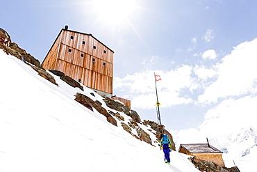 Approach to the Finsteraarhorn hut, Fiescher Glacier, Berner Oberland, Switzerland
