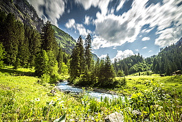 Summer river scene in Stillach valley in the Allgäu Alps, Oberstdorf, Germany, Oberstdorf 2015