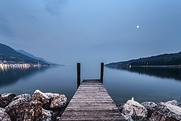 Landing Stagealong the shoreline at Salo, Lake Garda, Alps, Lombardy, Italy