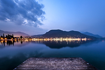 Shoreline at Salo in the evening, Lake Garda, Alps, Lombardy, Italy