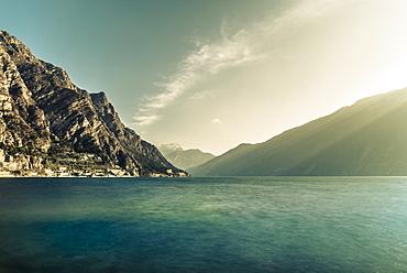 Shoreline of Limone Sul Garda, Lake Garda, Alps, Lombardy, Italy