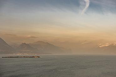 Manerba del Garda at sunset, Lake Garda, Alps, Lombardy, Italy