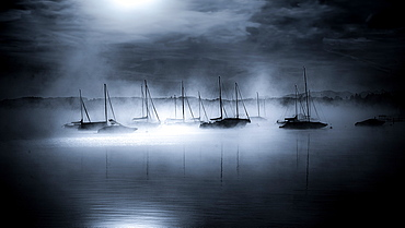 Boats in the harbor of Seeshaupt in the morning fog, black and white, Bavaria, Germany