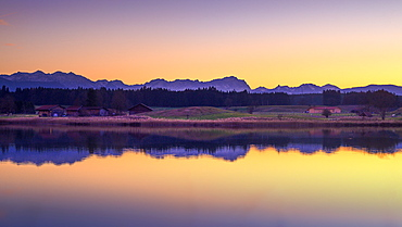 Sunset at Fohnsee (Ostersee), Iffeldorf, Bavaria, Germany