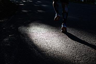 Runner stepped on a street, running, sports, street