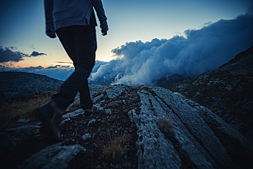Evening hike in the high mountains, Switzerland, mountains, mountaineering,