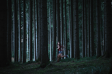 Runner runs through forest, running, sport, forest