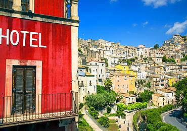 Colourful housing, Ragusa, Sicily, Italy