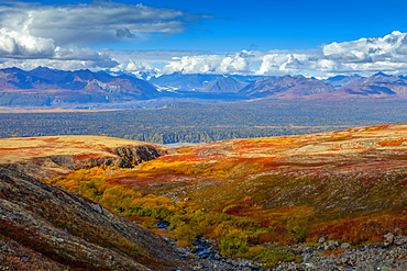 View from the Kesugi Ridge Trail across to the partially clouded Alaska Range, Denali State Park, Alaska, United States of America