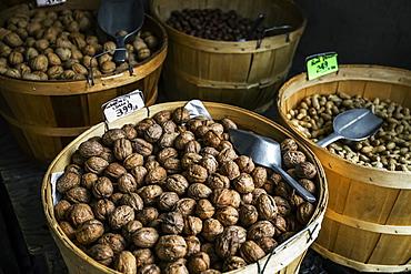 Walnuts at a market in baskets, Toronto, Ontario, Canada