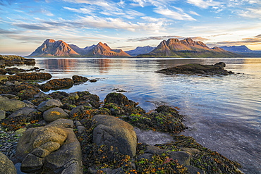 The mountains of the Strandir Coast near the town of Djupaik, with the sunset illuminating the awesome landscape, Djupavik, West Fjords, Iceland