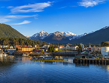 Winter view of Sitka Harbour with Gavan Hill and The Sisters mountains in background, Sitka, Alaska, United States of America