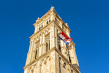 Bell Tower of Trogir Cathedral, or Cathedral of St Lawrence, in the historical city of Trogir, Trogir, Croatia