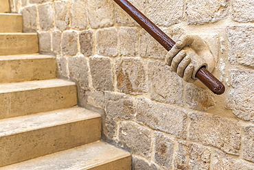 Decorative handrail of human hand holding rail, inside the Rector's Palace, Dubrovnik, Dubrovnik-Neretva County, Croatia