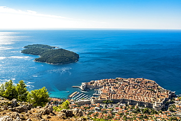 View of the Old City of Dubrovnik and Lokrum Island, Dubrovnik-Neretva County, Croatia